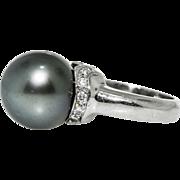 Platinum Diamond Black Tahitian Pearl Ring