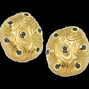 Vintage Angela Cummings Sapphire Gold Earrings