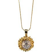 SALE Vintage Hand Made 18KT Gold and Diamond Pendant