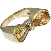 SALE Vintage 18KT Yellow Gold Diamond and Citrine Ring