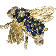 SOLD Rosenthal Sapphire Ruby Diamond Gold Bee Pin