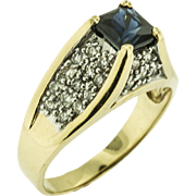 SALE Vintage Square Cut Sapphire and Diamond Ring