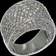Vintage Large Dazzling 5 Carats Pave Diamonds Gold Ring
