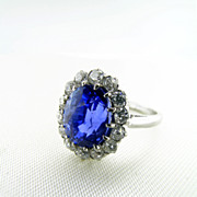Fine High Quality Vintage Sapphire and Diamond Oval Ring