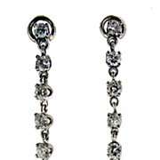 SALE Vintage 14kt White Gold, Diamond and Pearl Drop Earrings