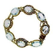 Vintage 18 KT Yellow Gold Aquamarine Bracelet