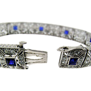 Exceptional Art Deco Platinum and Sapphire Bracelet