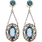 Vintage Handmade Aquamarine and Diamond Earrings