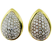 Spectacular Large Pave Diamond Gold Earrings