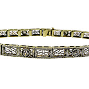 SALE Art Deco Diamond and Filigree Bracelet