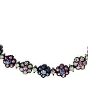 SALE Vintage 18KT Oxidized Gold Sapphire and Diamond Necklace
