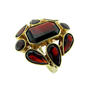 SALE Vintage German Hand Made Garnet Ring