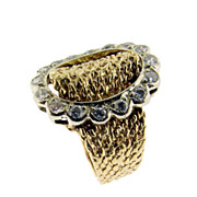 SALE Vintage Diamond and Gold Buckle Ring