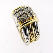 Vintage yellow and white Gold Ring