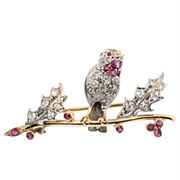 Hand Made Antique Ruby Throated Chick Broach