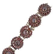 SALE Bohemian Garnet 800 Grade Silver Circular Link Bracelet