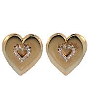 SALE Vintage Diamond and Gold Heart Earrings