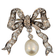 SALE VIntage Diamond and Cultured Pearl Bow Brooch