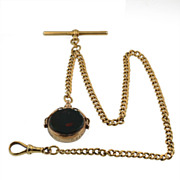 SALE Antique 18KT Yellow, Gold Watch Chain with 9KT Gold Blood Stone Swivel Fob