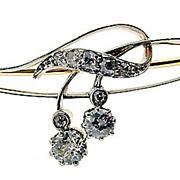 Art Nouveau 18kt Gold and Diamond Brooch