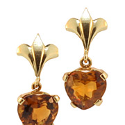 SALE Vintage Hand Made 14KT and Citrine Pierce Dangling Earrings