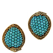 SALE Antique Hand Made Gold and Turquoise Earrings