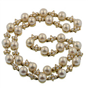 Tiffany & Co.  18 KT Yellow Gold Diamond and Pearl Link Necklace