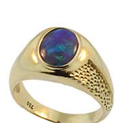 Vintage Black Opal, Yellow Gold Men's Ring