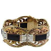 Polish 14 KT Yellow, Rose and White Gold Onyx Bracelet