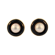 Vintage 14 KT Yellow gold Onyx and Mabe Pearl Earrings