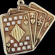 SALE Yellow Gold Aces Pendant