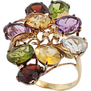 SALE Vintage 14 KT Semi Precious Decorative Gem Stone Ring