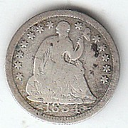 SOLD 1854 Liberty Seated Half Dime Variety 3 with Arrows at Date Good