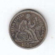 SOLD 1884 Liberty Seated Dime Variety 4 Legend on Obverse Choice VF 30
