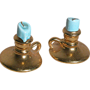 Two Miniature Dollhouse candle sticks Ceramic   Gold gilded with finger holders