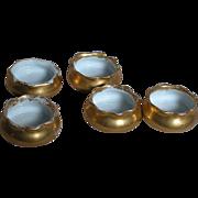 Small Bisque Porcelain Salt Cellars  5 Gold Gilded Salts Cellars Marked  Q & E G Royal ...