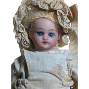 German Bisque Dollhouse Doll  Composition body Original Outfit  Small and Pretty