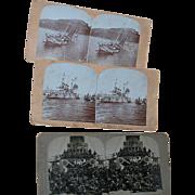 Three Stereo View Cards Wartime Ships  Wisconsin  Merimac  Oregan