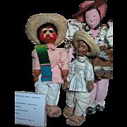 Vintage Mexican dolls Two Men  One Women  Cloth dolls