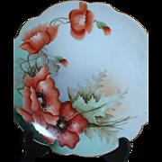 Austrian Hand Painted Plate  Vibrant Burnt Orange Poppies  Crown Vienna Austria