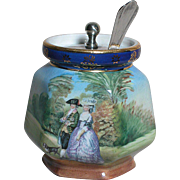 Vintage Pearlwhite Bohemia  Hand painted Gainsborough Jelly or Jam Jar  with Silver Plate Lid