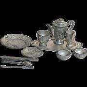 Vintage Dollhouse Metal Coffee Tea Set on Tray