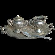 Vintage Dollhouse Metal Tray  with Sugar Bowl &  Creamer