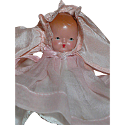Nancy Ann Storybook Bisque Baby in Pink Christening Gown  Star Hands