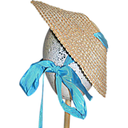 Vintage Large Natural Straw Doll Hat with Ribbon 1950s