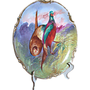 """Limoges Plaque Two Game Birds Hand Painted Coronet Mark 10-3/4"""""""