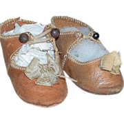 """Leather French Bebe Doll shoes Marked Depose size 8  2-3/4"""""""