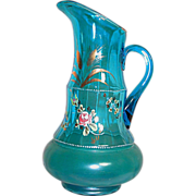 Beautiful Moser Bohemian Pitcher Blue Glass Enameled Flowers  12""