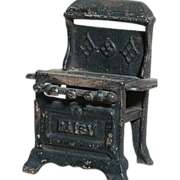 """Antique Cast Iron Stove Miniature Doll House size  Marked Daisy   4"""" X 3"""" X 2 ..."""