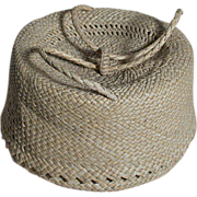 """French Fashion Doll Purse  Wicker or Natural Straw  with slide Straw  Handle  3.5"""" X ..."""